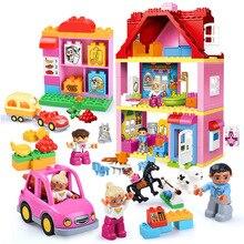 Diy Big Size Girl Friends Pink Villa Building Blocks Set Kid Compatible With Legoingly Duplo Hobbies Brick Toy For Children Gift