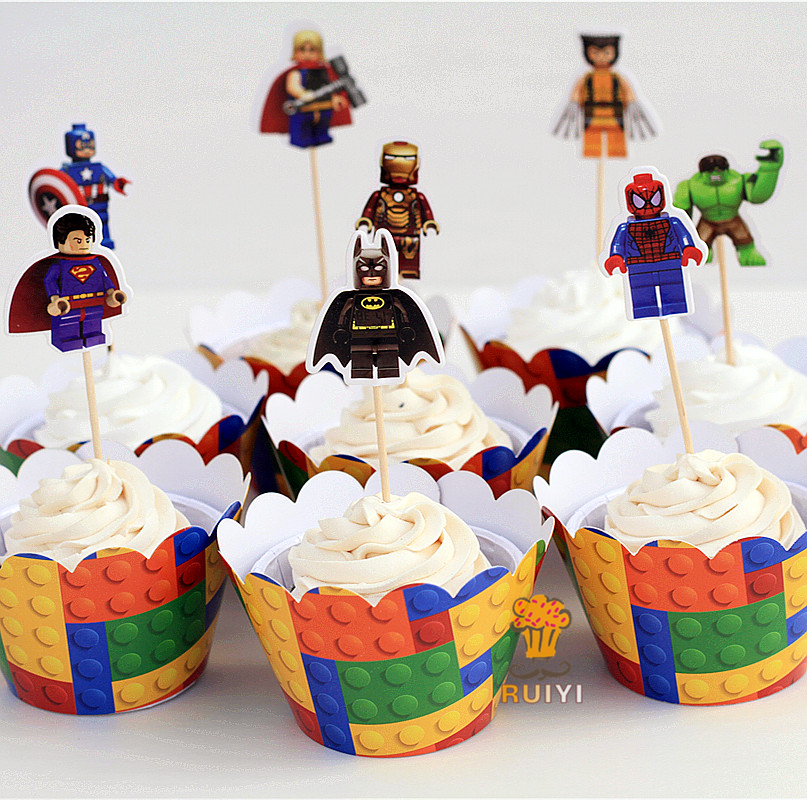 Pleasing 8Set Lego Superman Batman Captain America Cupcake Wrappers Kids Funny Birthday Cards Online Overcheapnameinfo