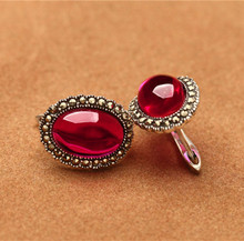 925 sterling silver silver earrings are exaggerated red pomegranate corundum RUBY EARRINGS JEWELRY female new free shipping chalcedony pomegranate red corundum silver ways is high grade female stud earrings earrings