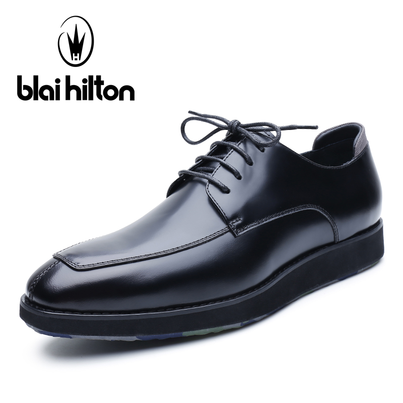 Blai Hilton 2018 New Spring/Summer men shoes Genuine Leather shoes Lace-up Breathable/Comfortable Business Men's Casual Shoes ege brand handmade genuine leather spring shoes lace up breathable men casual shoes new fashion designer red flat male shoes
