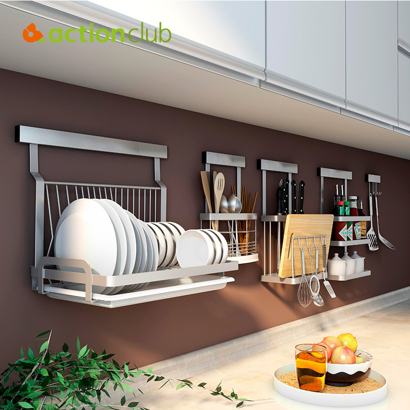 ACTIONCLUB Wall Mounted Kitchen Rack Stainless Steel  Kitchen Shelf DIY Cross Tube Kitchen Storage Organizer Tools