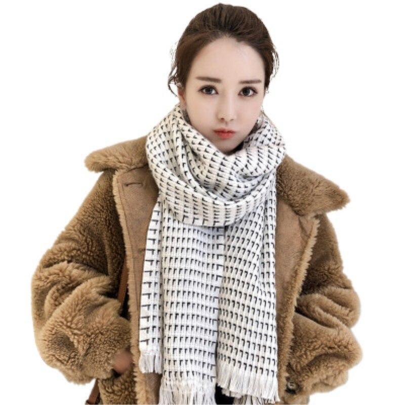 2018 winter women scarf fashion soft acrylic scarves for ladies pashmina shawls and wraps bandana female Tassel Size:55*190cm