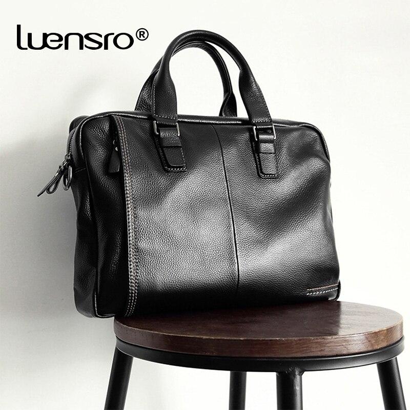 LUENSRO 100 Genuine Leather Men s Briefcase Fashion Large Capacity Business bag Black Male Shoulder Laptop
