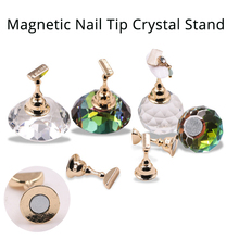 1Set Magnetic Nail Holder Practice Training Display Stand Acrylic Crystal Holders Alloy False Nail Tip Salon DIY Manicure Tools