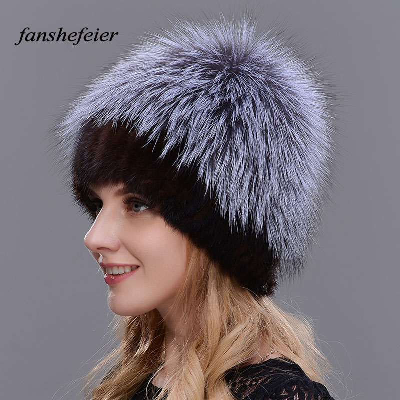 Fanshefeier Fashion Caps Real Fox Fur Hat Female Natural Mink Fur Women Winter Hats Warm and comfortable High Quality Beanies