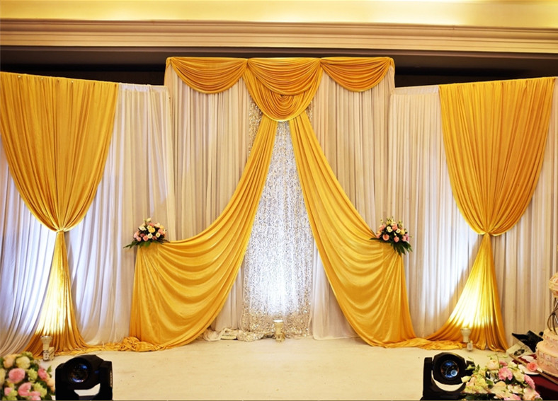 Gold ice silk Wedding Backdrop Curtains Simple Design Swag Satin party backgroundd drape curtain wedding decoration 10ftX10/20ftGold ice silk Wedding Backdrop Curtains Simple Design Swag Satin party backgroundd drape curtain wedding decoration 10ftX10/20ft