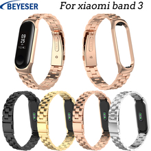 цена на Stainless steel wrist strap for xiaomi mi band 3 metal watchband smart bracelet miband 3 belt replaceable watch strap wrist belt