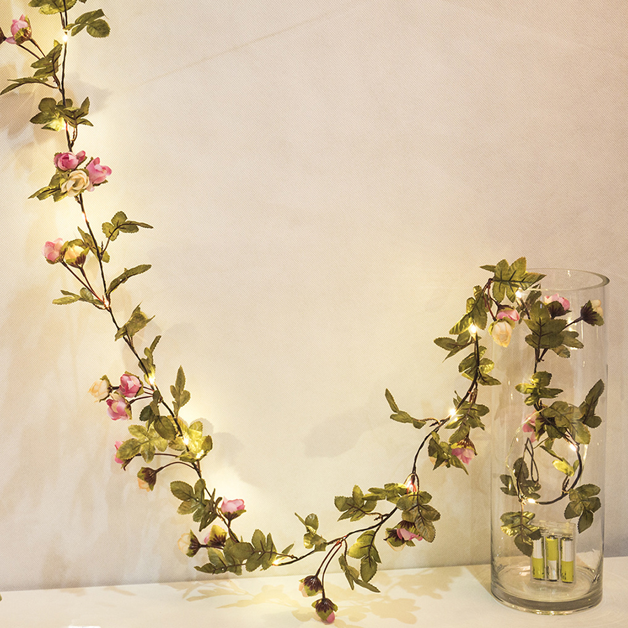 Thrisdar 10M 100 LED DIY Rose Flower Leaf LED Fairy Light With Copper Christmas LED String Light Wedding Party Holiday Decor