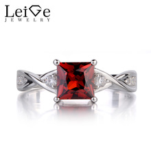 Leige Jewelry Princess Cut Garnet Rings for Women Engagement Promise Ring Sterling Silver 925 Fine Jewelry January Birthstone