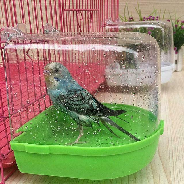 1Pcs Plastic Bird Water Bath Box Bathtub Parrot For Parakeet Lovebird Finch Pet Cage Hanging Bowl Parakeet Birdbath