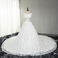 Real Photo Ball 2017 New High End Wedding Dress Lace Flower Bride Dresses Ball Gown Train