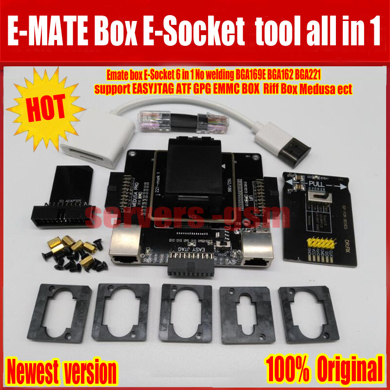 NEW E-MATE box Emate box E-Socket 6 in1 No welding BGA169E BGA162 BGA221 support Medusa Pro box /UFI/ATF/EASY JTAG Plug/RIFF BOXNEW E-MATE box Emate box E-Socket 6 in1 No welding BGA169E BGA162 BGA221 support Medusa Pro box /UFI/ATF/EASY JTAG Plug/RIFF BOX