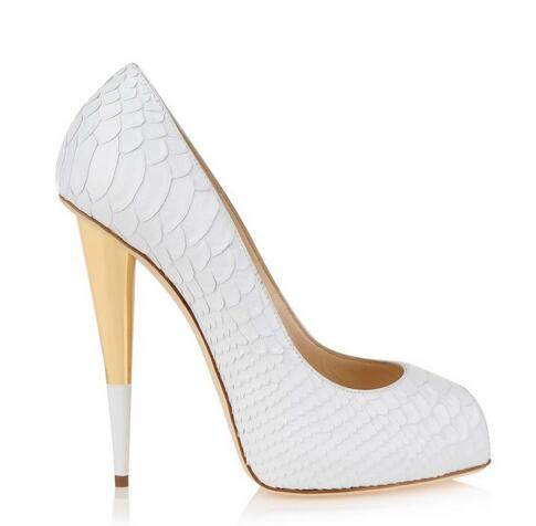 Mulheres jacaré branco saltos altos apontou/peep toe bombas de saltos de ouro branco das mulheres do partido sapatos 2017 - 3