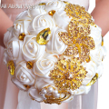 Gold Rhinestone Brooch Wedding Bouquet  Luxury Fabric Rose Durable Flower Bridesmaid Hand Flower