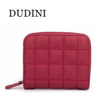 DUDINI Women Short Wallets PU Leather Female Plaid Purses Nubuck Card Holder Wallet Fashion Small Zipper Wallet  Coin Purse
