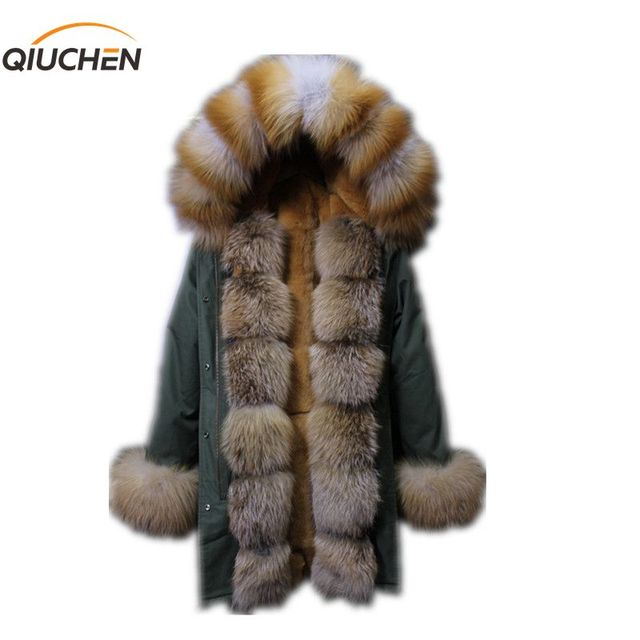 QIUCHEN PJ6009 Free shipping real fur parka Rex rabbit fur lining fox fur collar and slevees and fox fur tirm high quality