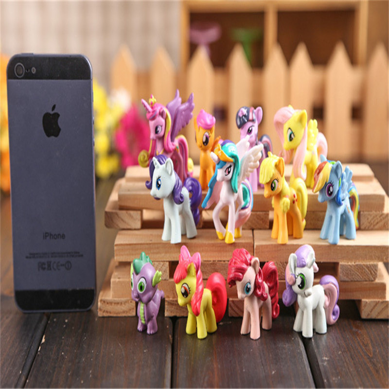 NEW styles 12PCS Collection Model Toys for Children Anime cartoon Lovely Rainbow Horse Princess Luna Unicorn Poni girl gift new kids personalized gifts trolls cartoon magic long hair princess doll gift anime toy figures led ledclock toys for children