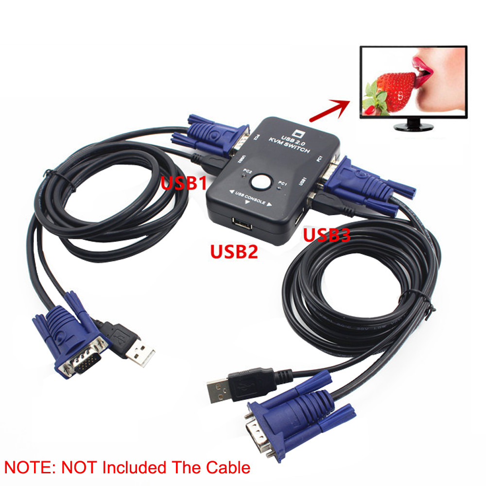 New USB 2 Port VGA KVM Switch Box Cable for PC Sharing Monitor Keyboard Mouse