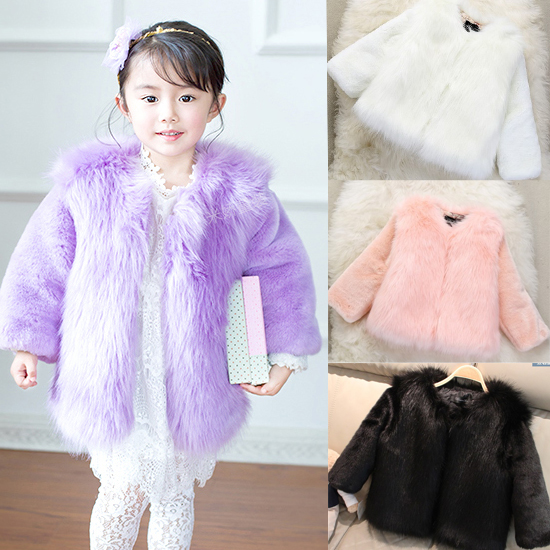 high quality Fashion thick Kids clothes winter fur coat clothing for girl outerwear luxury faux fur Jacket coat size:100cm-150CM стоимость