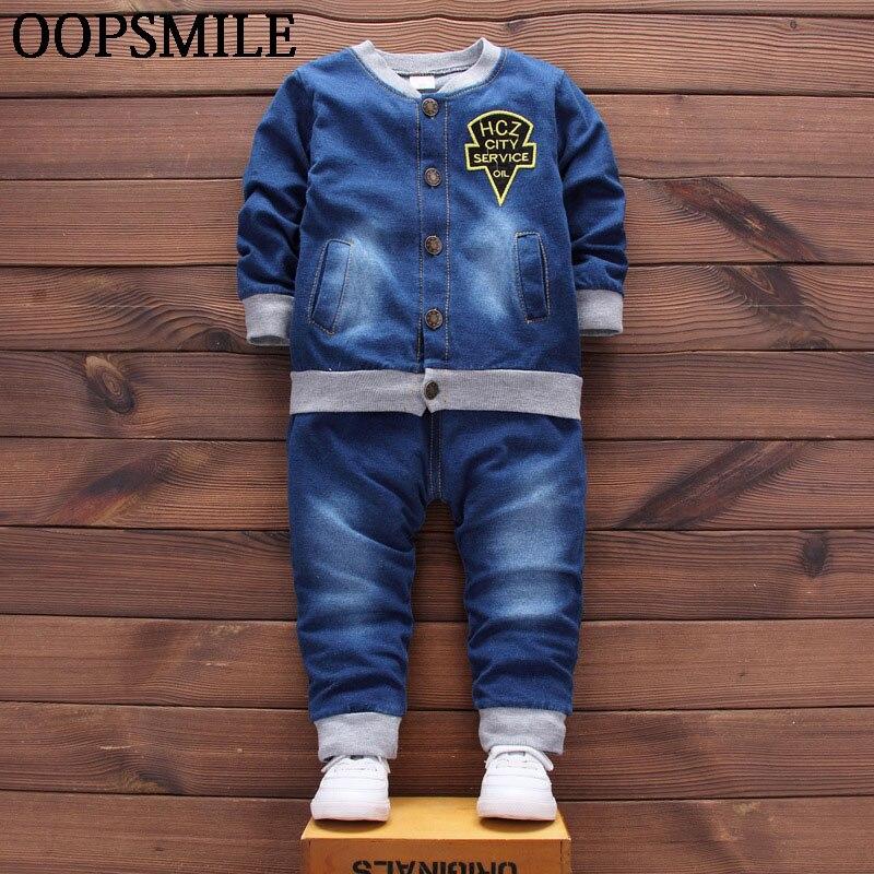 spring Baby boys clothes Suits Infant/Newborn Clothes Sets Kids jeans coats+jeans pant Sets Children Suits bebes