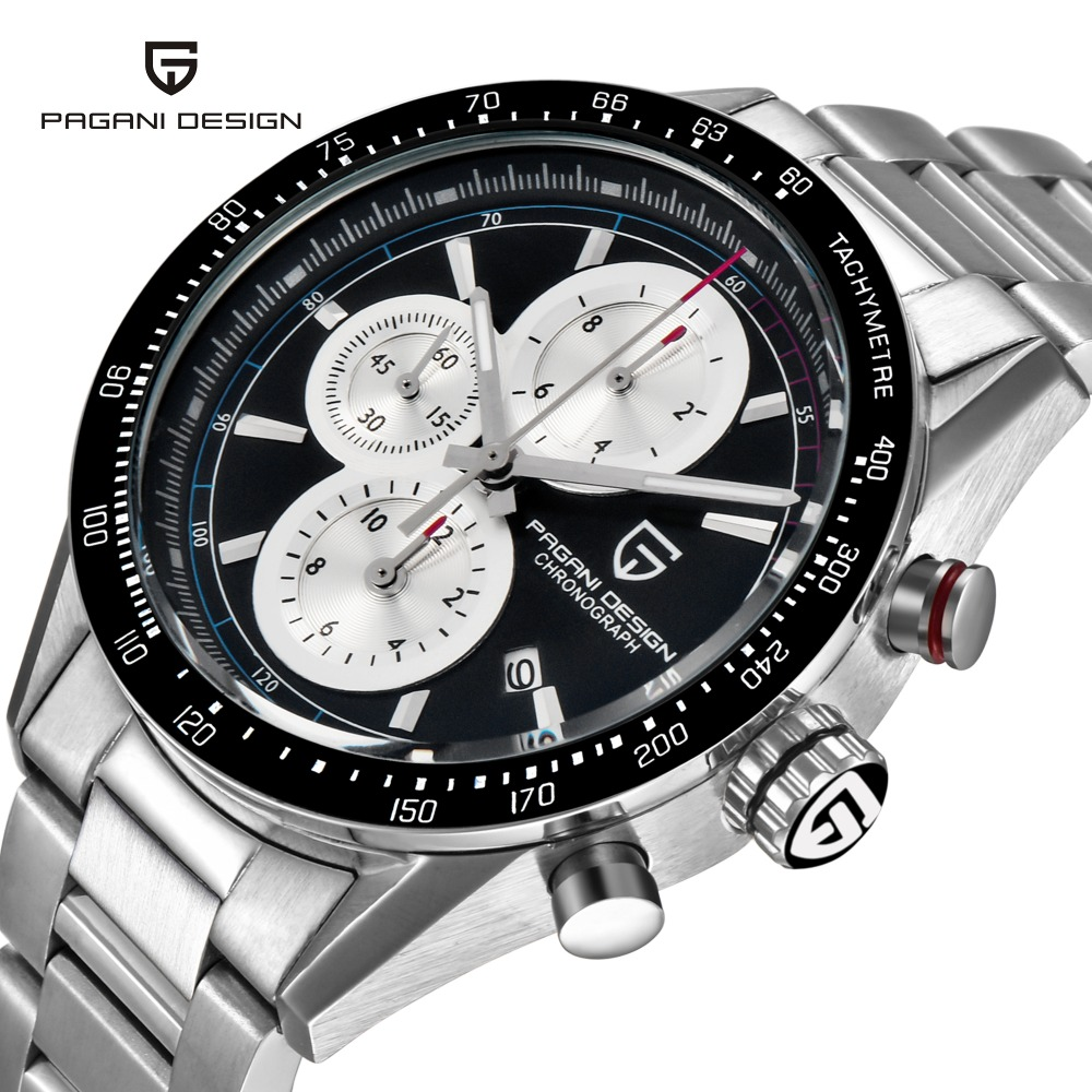 PAGANI DESIGN Fashion Sports Chronograph  Quartz Watch Relogio Masculino 2017 Leather&Stainless strap Men's Watches Montre Homme цена и фото