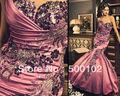 Sirena Cariño Con Cuentas de Lujo Embroideried Vestidos de Noche