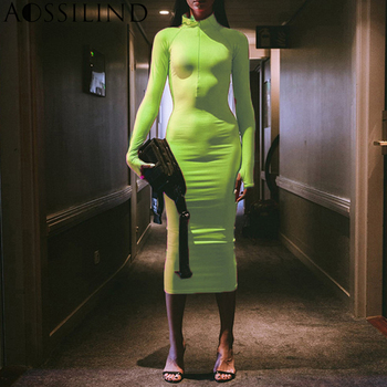 long sleeve turtleneck bodycon dresses