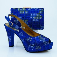2016 Latest African PU Rhinestone Shoes And Bag Set Italian Design Ladies Pumps Shoe And Bag Set For Evening Party CP63007