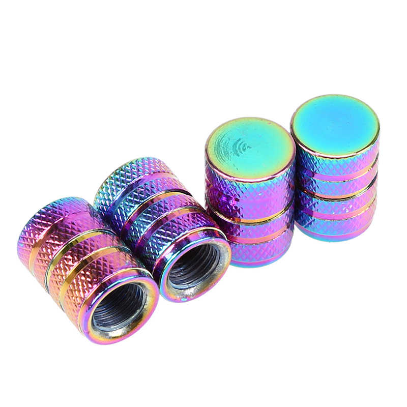 4x Aluminum Bullet Style Tire/Rim Valve/Wheel Air Port Cover Stems Caps Colorful Universal Fit Cars Motorcycle Bike Value Caps