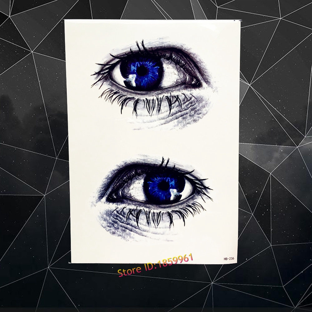 Detail Feedback Questions About 3d Blue Eye Flash Temporary Tattoo