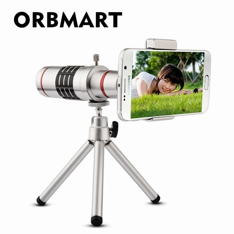 imágenes para Orbmart 18x zoom óptico telescopio con mini trípode universal para samsung iphone xiaomi redmi note meizu teléfono móvil lentes