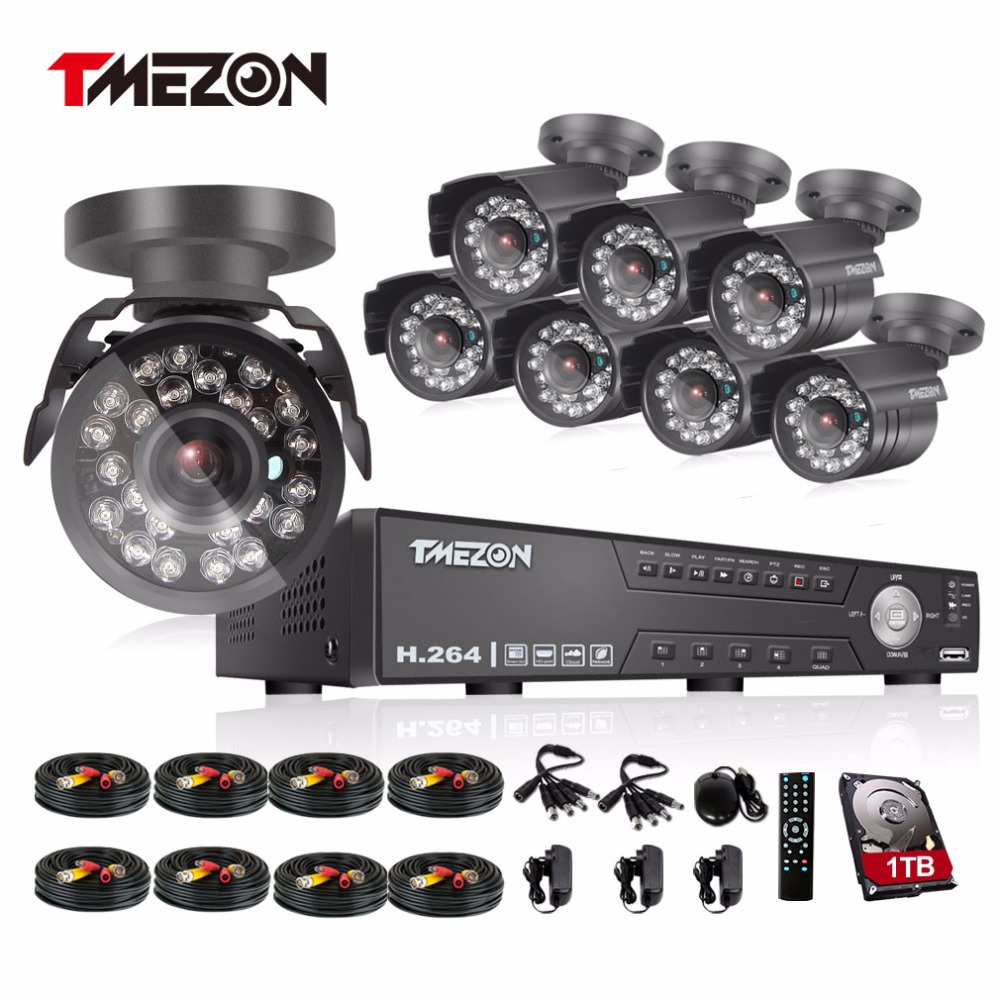 Tmezon 8CH AHD DVR 8pcs 2.0MP 1080P Camera Security Surveillance CCTV System Outdoor Waterproof IR Night Vision 1TB 2TB HD Kit tmezon 16ch ahd dvr 16pcs 2 0mp 1080p camera security surveillance cctv system outdoor waterproof ir night vision 1tb 2tb hd kit