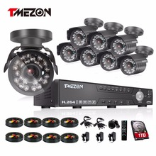 Tmezon 8CH AHD DVR 8pcs 2.0MP 1080P Camera Security Surveillance CCTV System Outdoor Waterproof IR Night Vision 1TB 2TB HD Kit