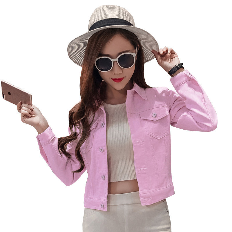 Women Spring Turn Down Collar Long Sleeve Slim Pink Candy Color <font><b>Jeans</b></font> Coats Tops Lady Short Bare Midriff Denim Jackets Overcoat