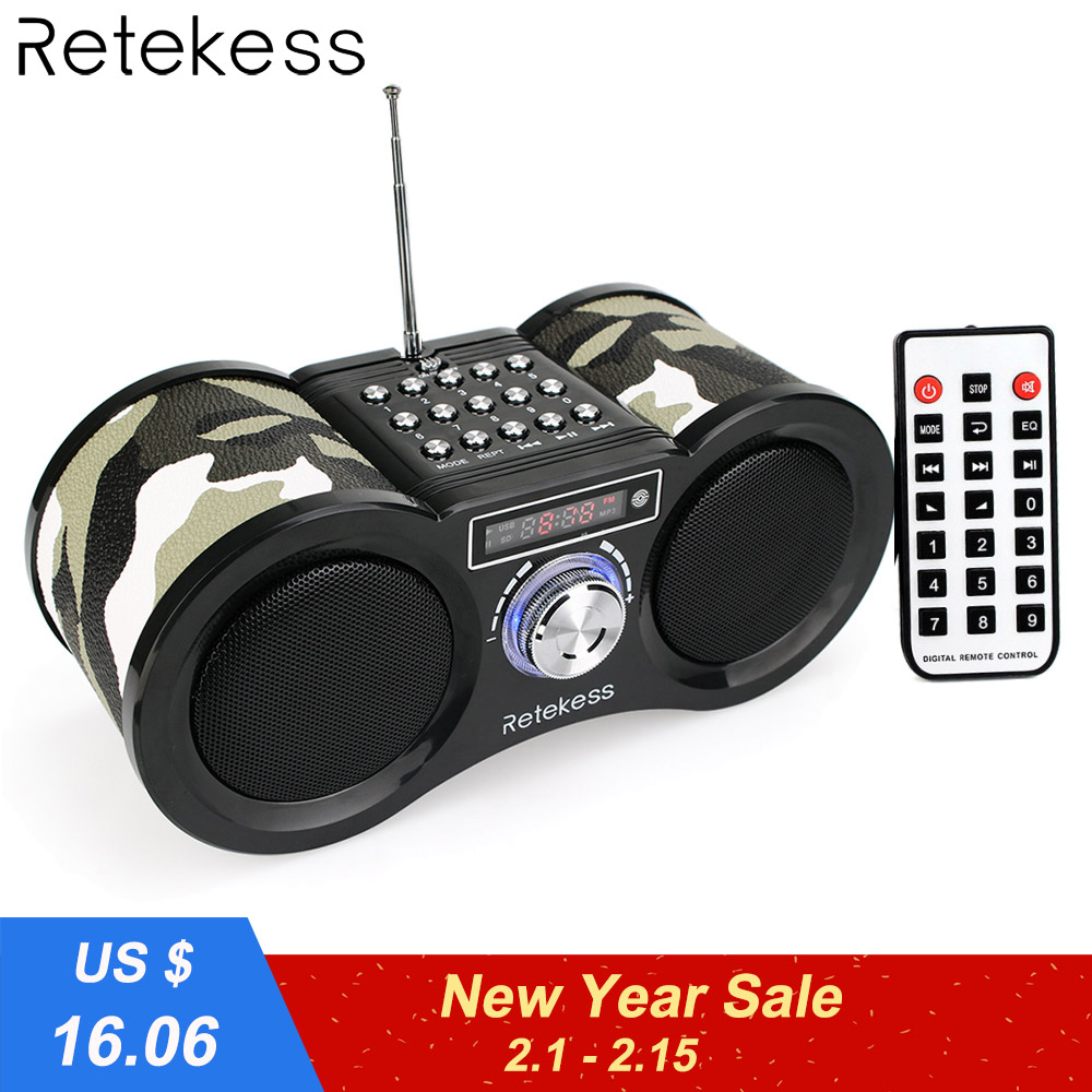 Retekess V113 Radio FM estéreo de Digital receptor de Radio altavoz USB disco TF tarjeta MP3 reproductor de música de camuflaje + Control remoto
