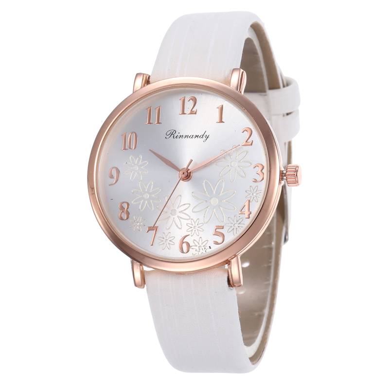 Fashion Simple Flower Pattern Women Quartz Watch Leather Strap Female Watches Casual Ladies Wristwatches Zegarek Damski Clock