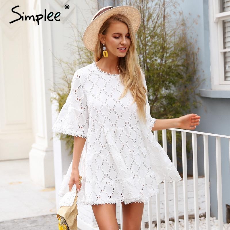 Sommer Vestidos Damen Flare Weiß Kleid Frauen Taille Herbst Baumwolle Casual 2018 Kurzen Hülse Simplee Spitze Hohe Festa Nnm0Oyv8wP
