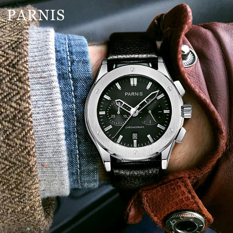 41mm Parnis Watch Men Quartz MensWatches Top Brand Luxury Military Pilot Quartz Men Watch Genuine Leather 50Bar Waterproof Swim
