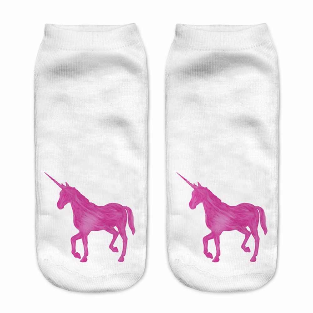 HO-KLOSS الوردي يونيكورن 2017 المتناثرة 3D طباعة يونيكورن الجوارب النساء Kawaii أدنى قطعة الكاحل لطيف الرموز التعبيرية الفن الحصان الجوارب الإناث الفتيات