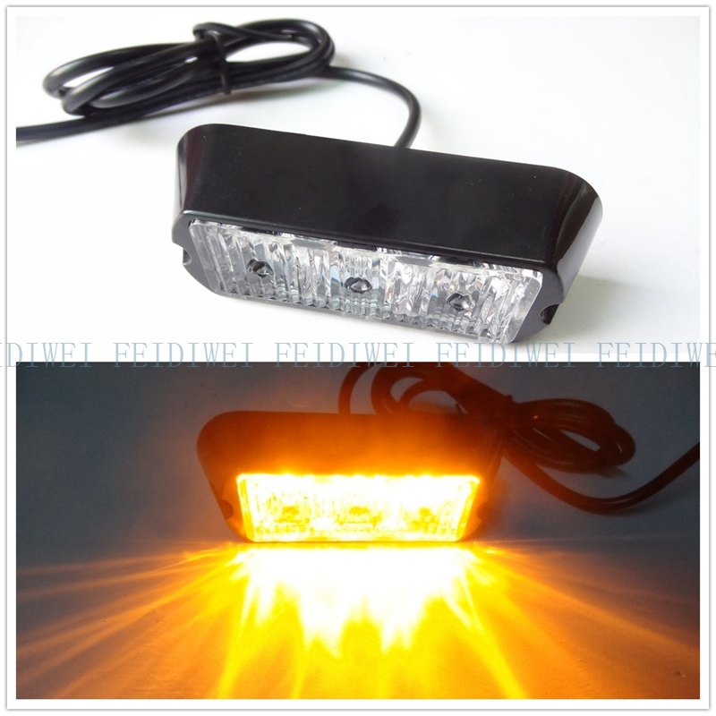 08003 New 3W High Power 3 LED Waterproof Car Truck Emergency Strobe Flash warning light Amber Red blue green
