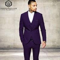 LN049 Center Vent Groomsmen Shawl Lapel Groom Tuxedos Purple Men Suits Slim Fit Wedding Best Man