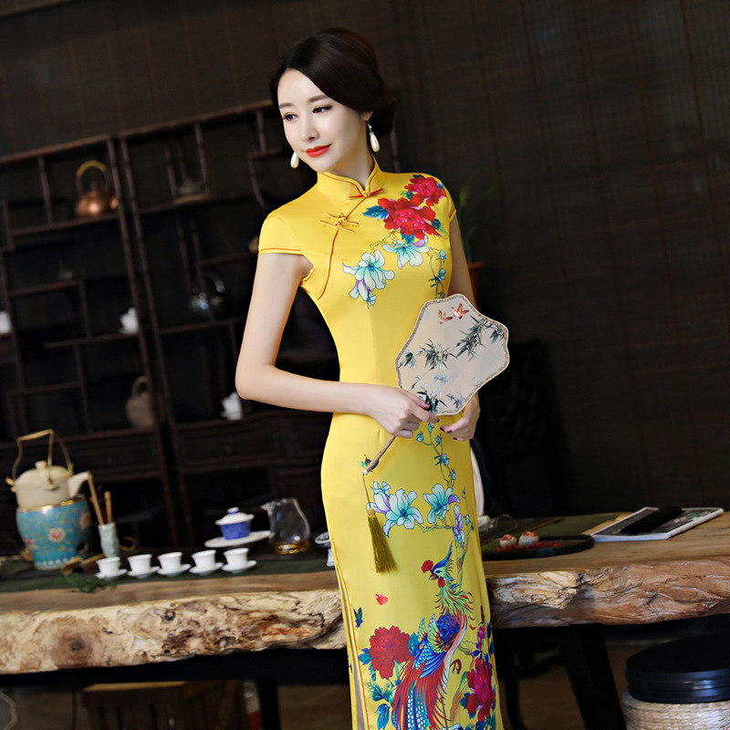 M 8 Élégante Robe Longue Cheongsam Traditionnelle Imprimer 4 10 9 Col Haute Sz 1 7 12 Qipao Plus 6 11 Chinoise Sexy 3xl 2 De Mode 13 Fleur 5 Mandarin Soie Satin 3 WYED2IH9