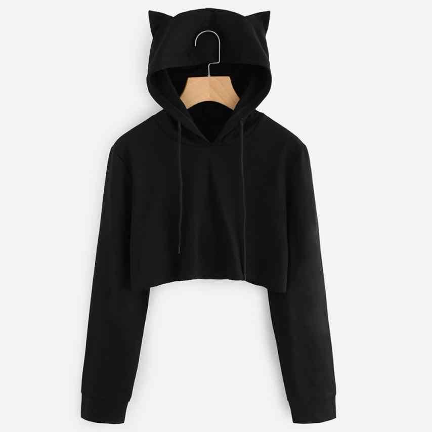 Womens Cat Ear Cute Sweatshirts Hoodie Crop Tops 2018 New Solid Long Sleeve  Cropped Sweatshirt Hooded 26ab0fa79b7b