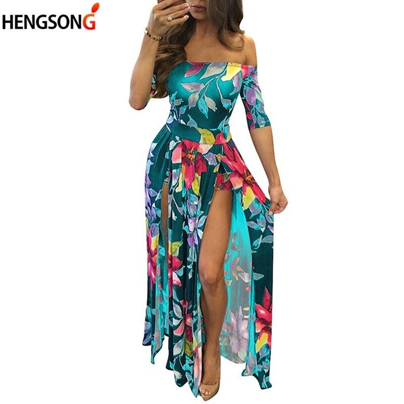 Grande Taille Femmes Robe 2018 été Cheville-longueur Longue Robe Femmes Imprimé Floral Haute Fente Bohème Maxi Robe De Plage Dame Vestido Ventes De L'Assurance Qualité