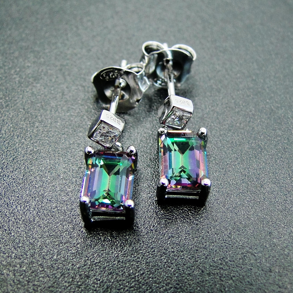 Fine 925 Sterling Silver Earrings 5x7mm Rainbow Mystic Topaz Earring Drop Earrings Women Jewelry Earrings for Women Daily Wear wwd women s wear daily 2012 11 26