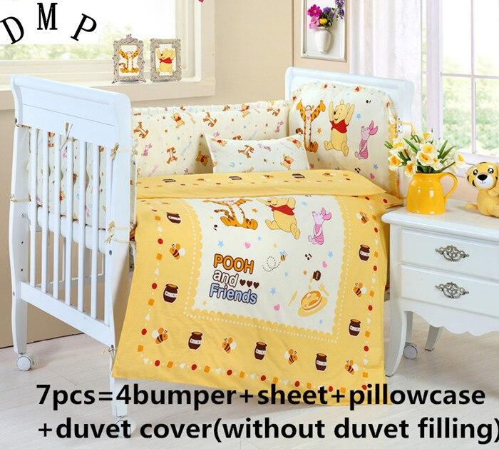 Promotion! 6/7PCS Baby Bedding Set Crib Bumpers Newborn Baby Products cartoon bedding set , 120*60/120*70cm