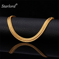 New Men S Classic 18K Real Gold Plated Necklace Chains With 18K Stamp 6MM 55CM 22