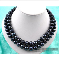 2strands 19 14mm round black FW pearl necklace ^^^@^Noble style Natural Fine jewe FREE SHIPPING