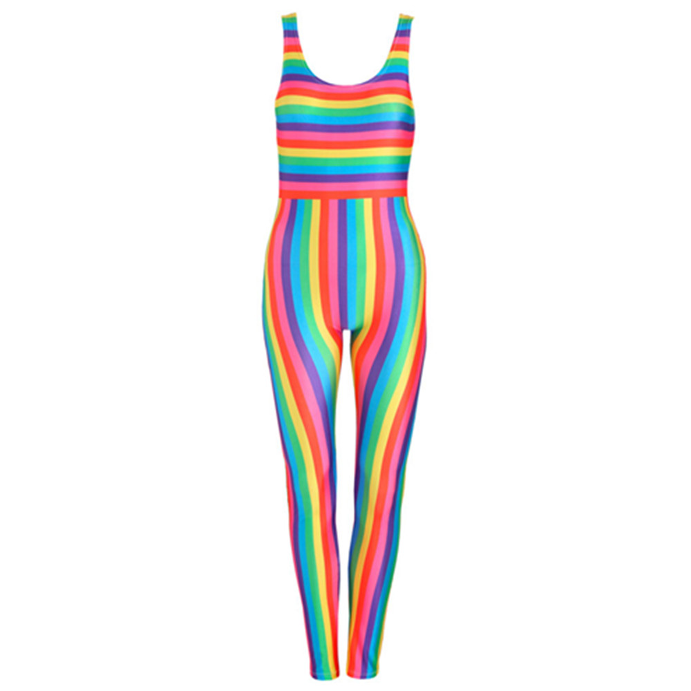 Rainbow Stripes Unitard Catsuit Jumpsuit Romper Top Women Ladies Girls Tumblr Hipster Gr ...