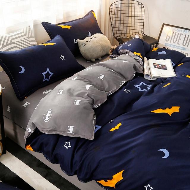 4pcs/set Moon Star Bat printing High Quality Bedding Set Bed Linings Duvet Cover Bed Sheet Pillowcases Cover Set